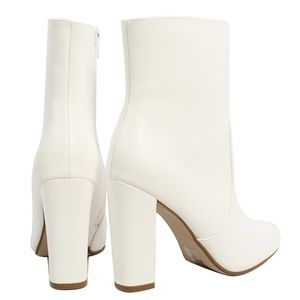 Shoes - White Almond Toe High Top Chunky heel Boot